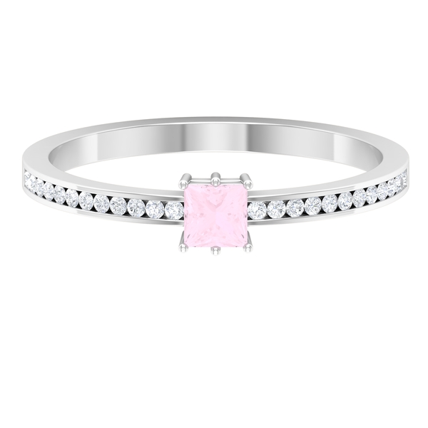 3.3X3.3 MM Princess Cut Rose Quartz Solitaire Ring in 6 Prong Setting with Diamond Side Stones