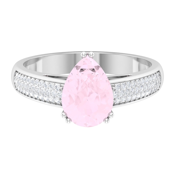 1/2 CT Pear Cut Rose Quartz Solitaire Ring with Moissanite Side Stones in Double Prong Setting