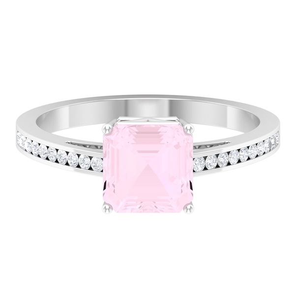 2.25 CT Asscher Cut Rose Quartz and Solitaire Ring in 4 Prong Setting with Moissanite