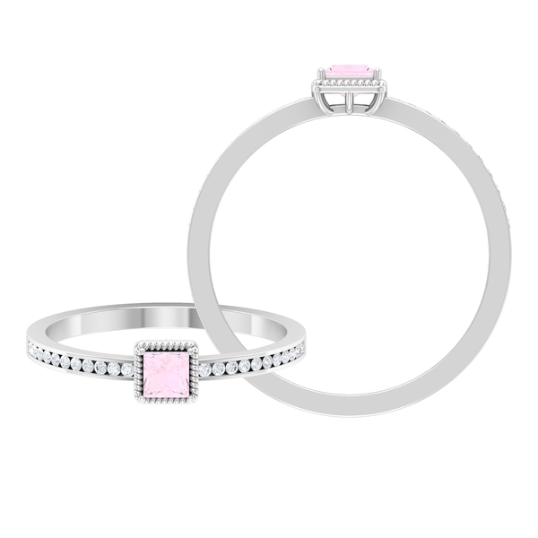 3.3 MM Princess Cut Solitaire Rose Quartz in 4 Prong Setting with Diamond and Gold Twisted Rope Frame