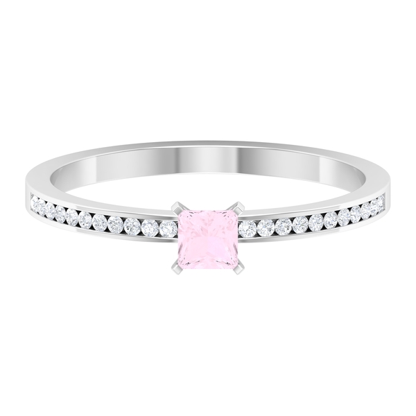 3.30 MM Princess Cut Solitaire Rose Quartz Ring in French Setting with Diamond Side Stones