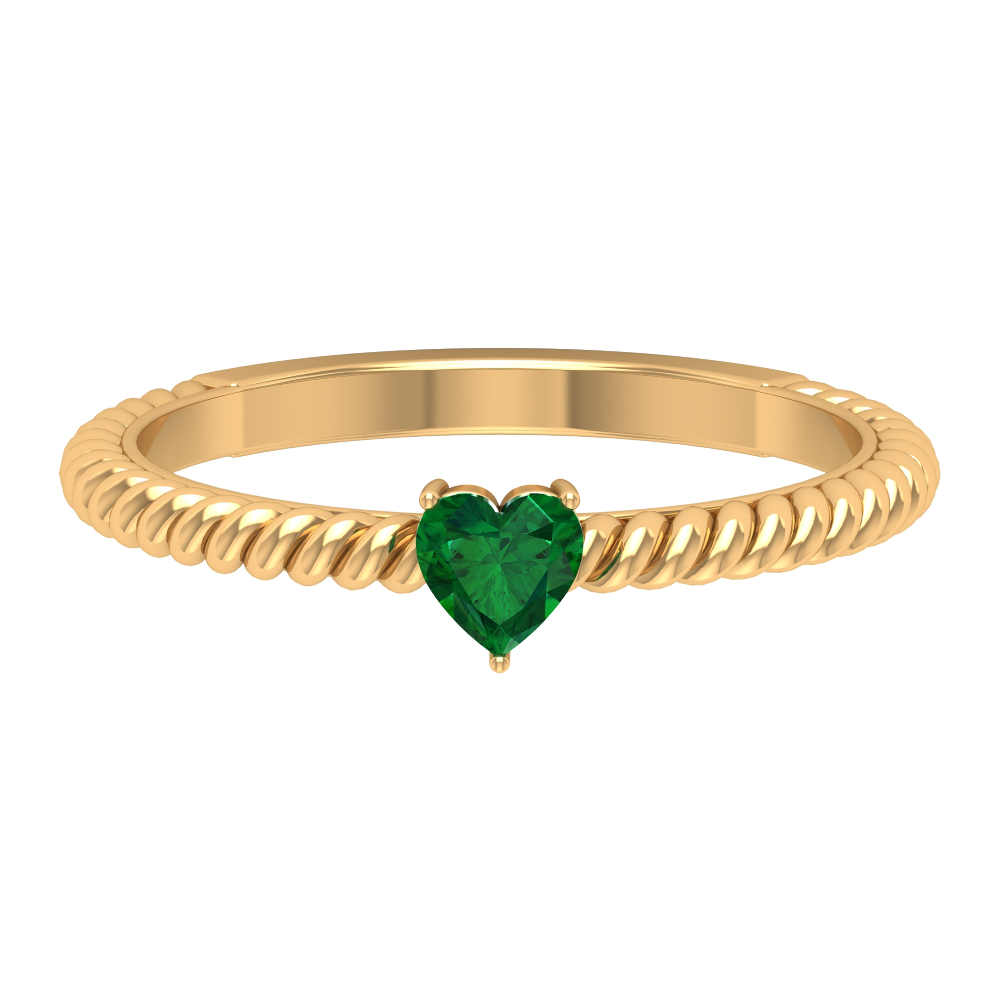 4 MM Three Prong Set Heart Shape Emerald Solitaire Ring with Twisted Rope