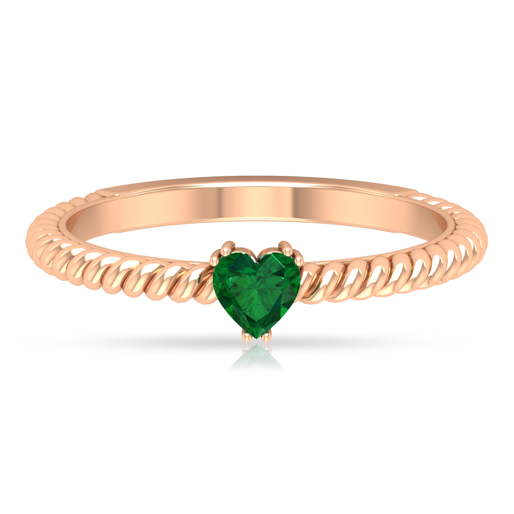 4 MM Double Prong Set Heart Shape Emerald Solitaire Ring with Twisted Rope