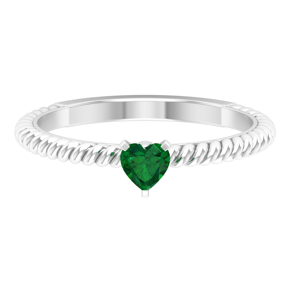 4 MM Three Prong Peg Head Set Heart Shape Emerald Solitaire Ring with Twisted Rope