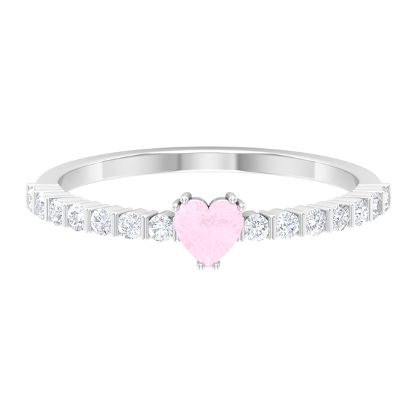 1/2 CT Rose Quartz Solitaire Ring in Double Prong Setting with Diamond Side Stones