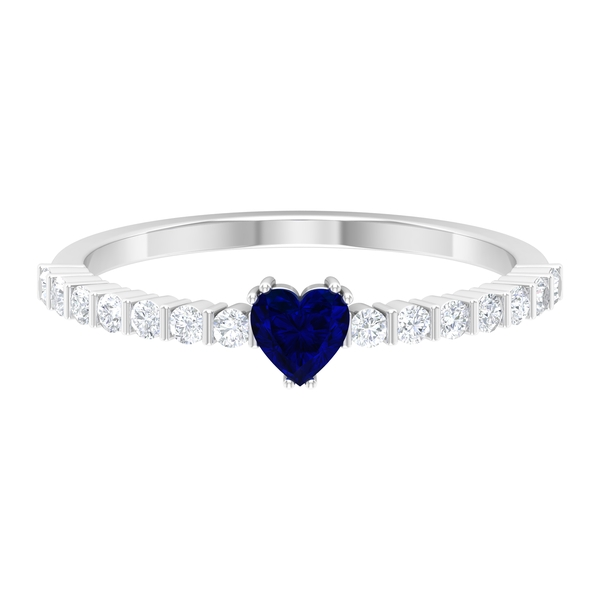 3/4 CT Blue Sapphire Solitaire Ring in Double Prong Setting with Diamond Side Stones