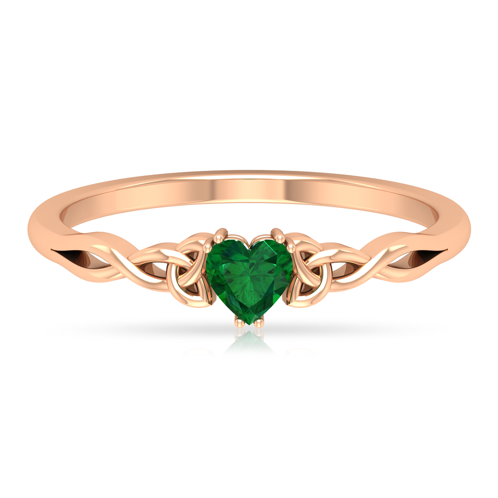 May Birthstone 4 MM Heart Shape Solitaire Emerald Celtic Ring in Double Prong Setting