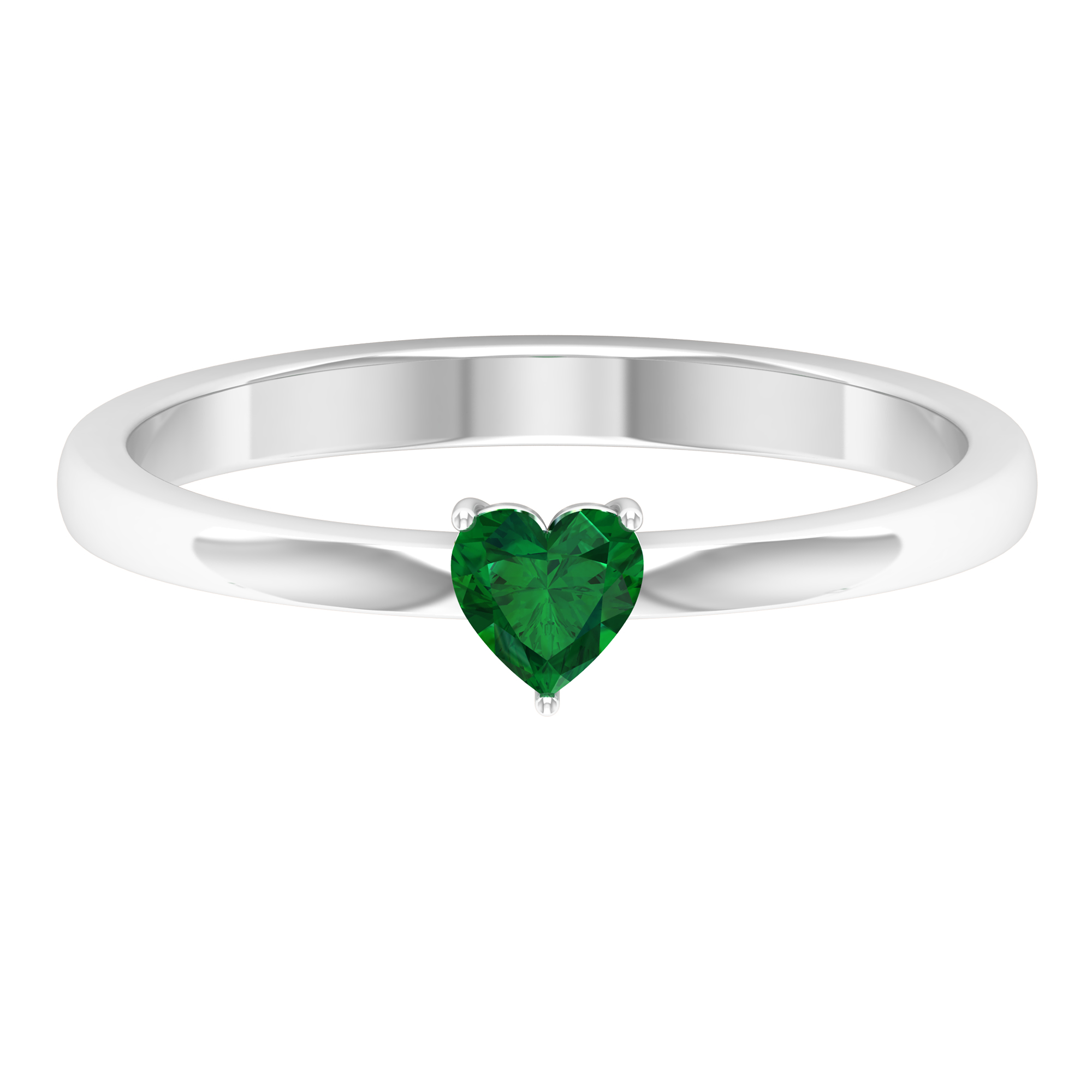4 MM Heart Shape Emerald Solitaire Ring in 3 Prong Setting