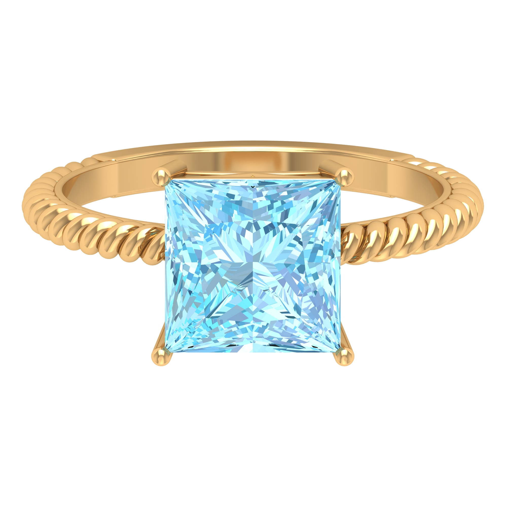 8X8 MM Princess Cut Aquamarine Solitaire Ring in 4 Prong Setting with Twisted Rope Details