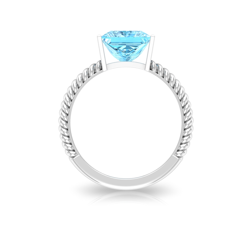 8X8 MM Princess Cut Aquamarine Solitaire Ring in Bar Setting with Twisted Rope Details