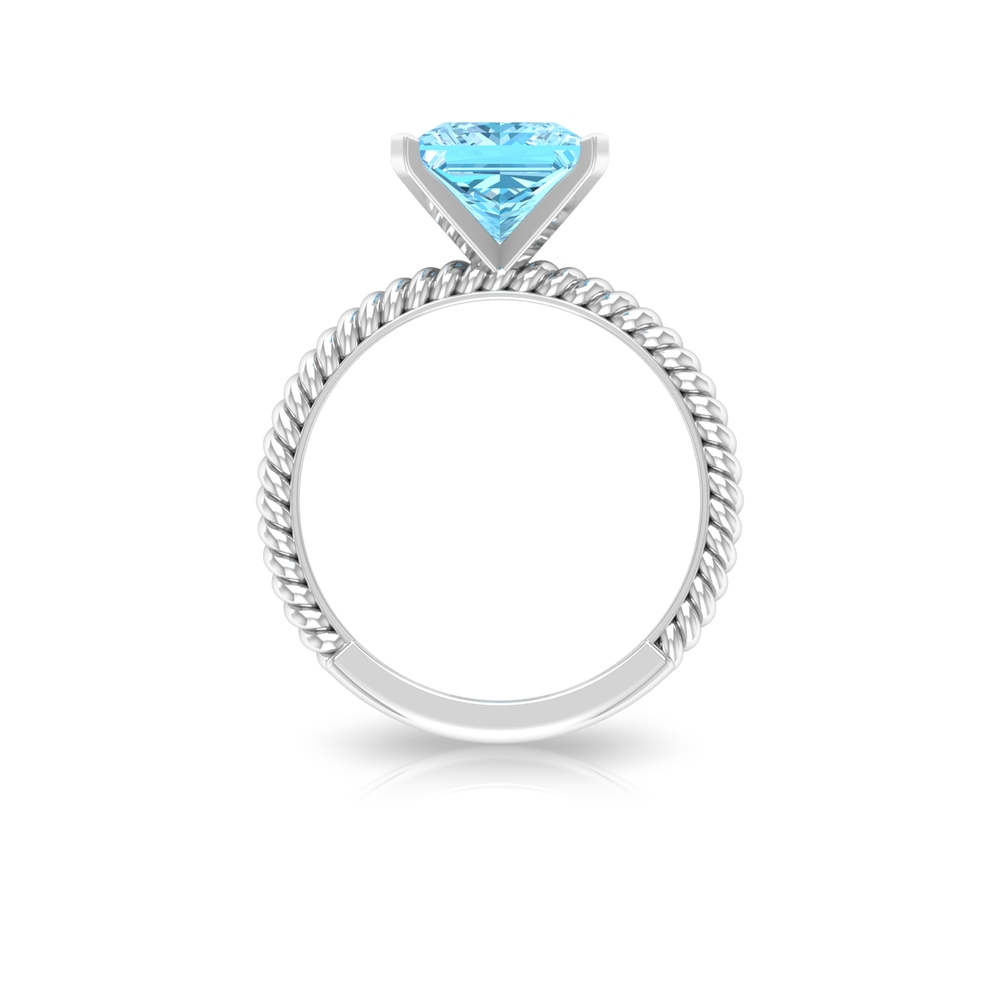 8X8 MM Princess Cut Aquamarine Solitaire Ring in French Setting with Twisted Rope Details