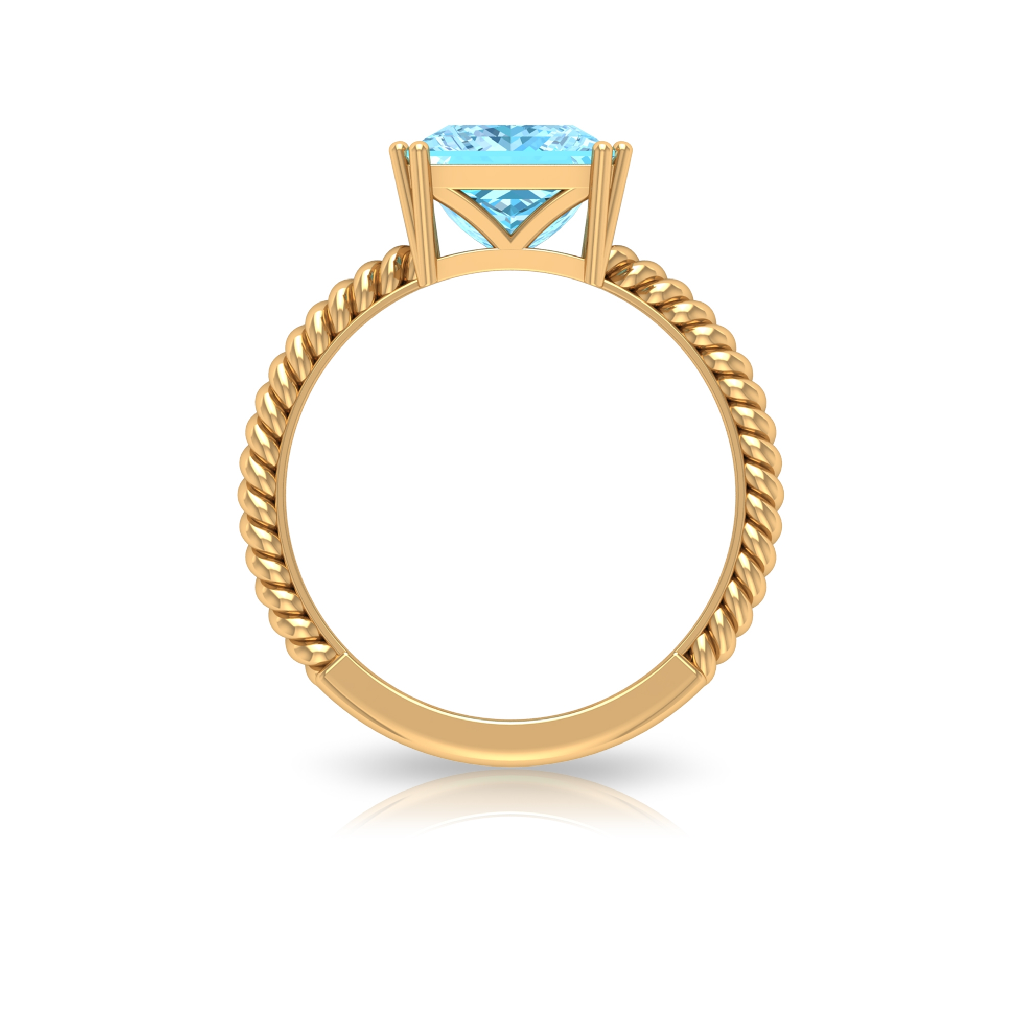 8X8 MM Princess Cut Aquamarine Solitaire Ring in Double Prong Setting with Twisted Rope Details