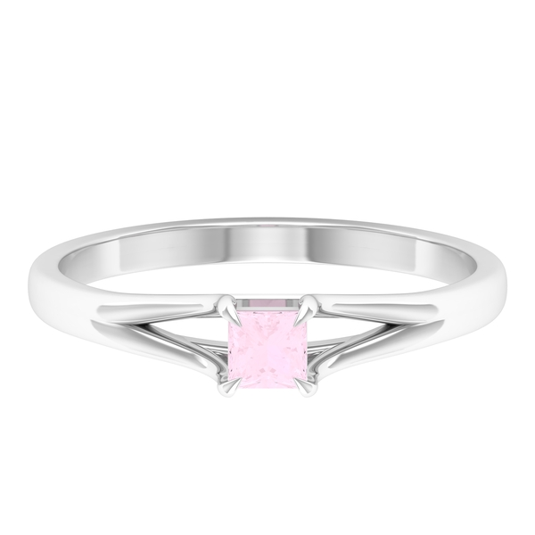 3.3X3.3 MM Princess Cut Rose Quartz Solitaire Ring in Claw Setting with Split Shank