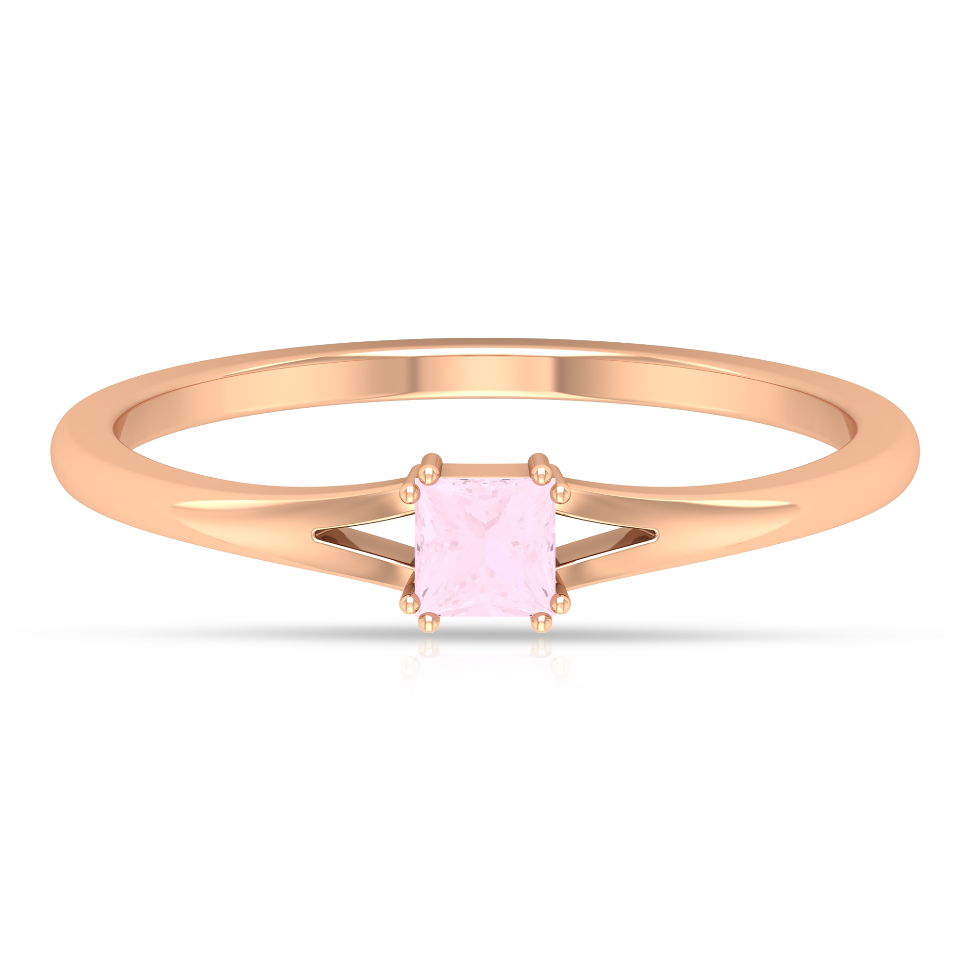 3.3X3.3 MM Princess Cut Rose Quartz Solitaire Ring in Double Prong Setting with Split Shank