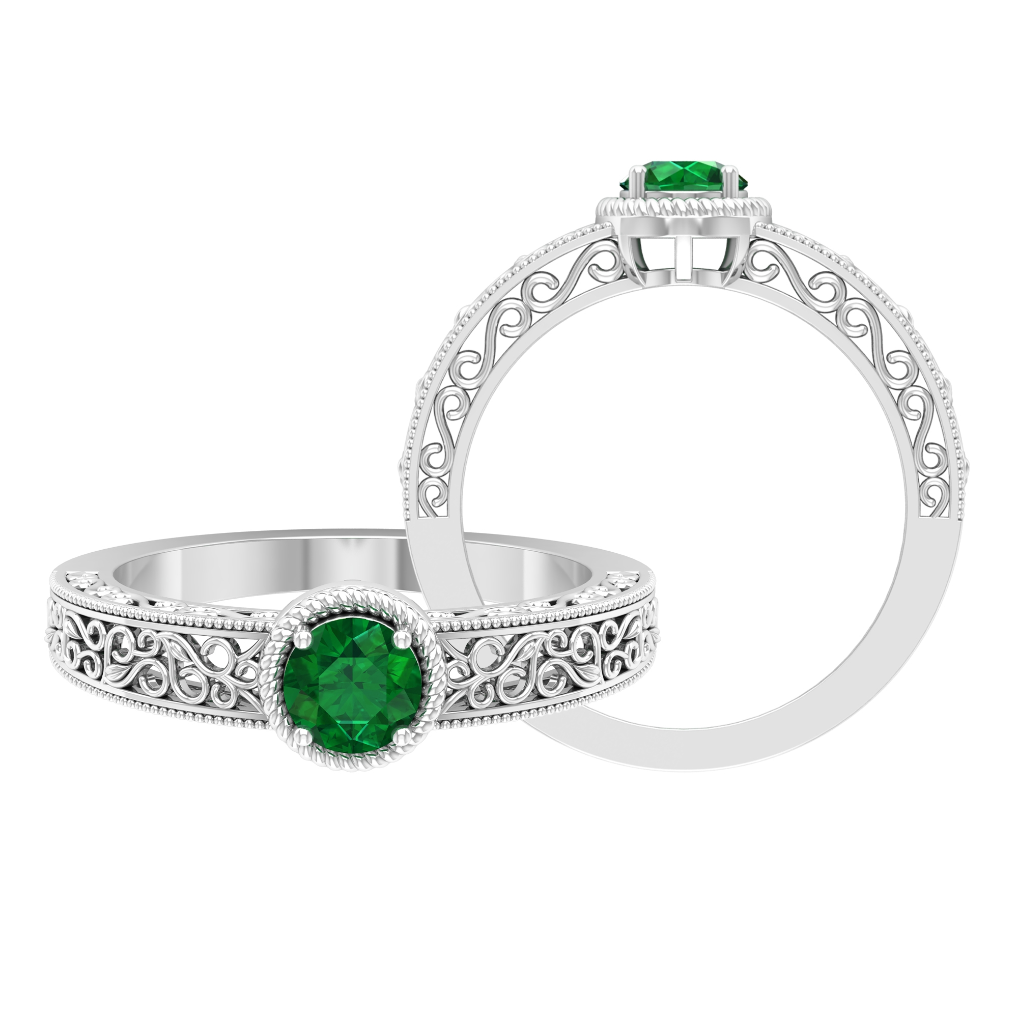 5 MM Round Cut Emerald Solitaire Ring in Prong Setting with Rope Frame and Filigree Details