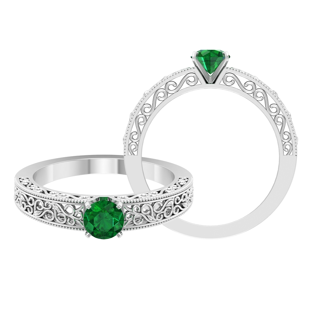 5 MM Round Cut Emerald Solitaire Ring in Square Prong Setting with Filigree Details