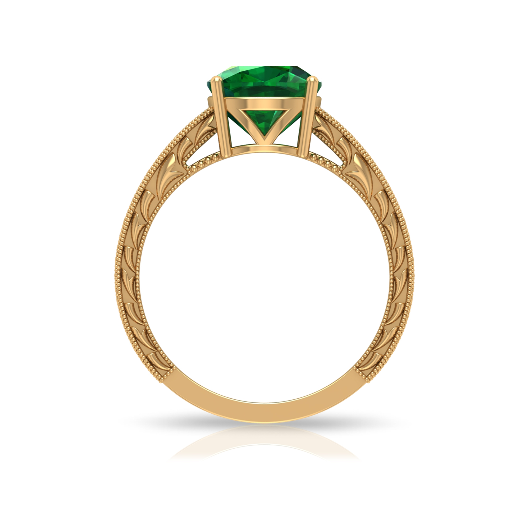 8 MM Four Prong Set Cushion Cut Solitaire Emerald Engraved Ring