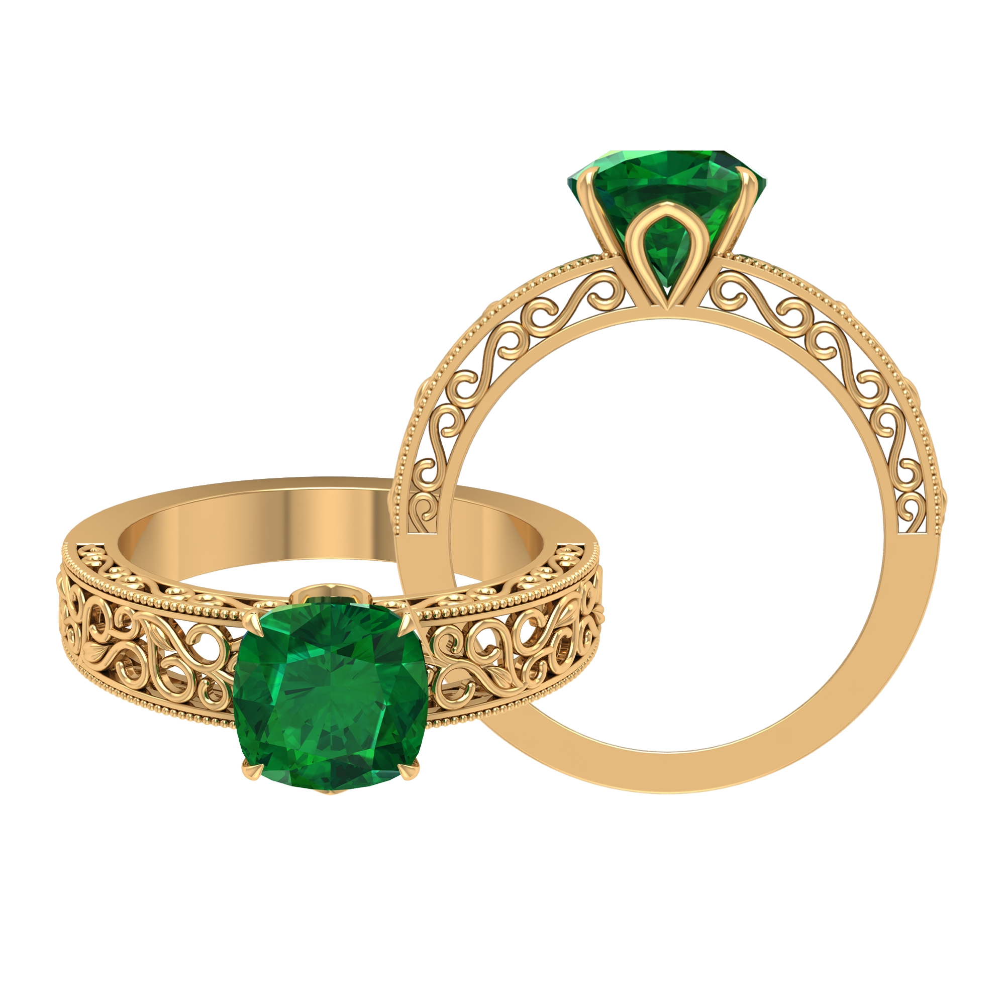 8 MM Claw Set Cushion Cut Solitaire Emerald Filigree Ring
