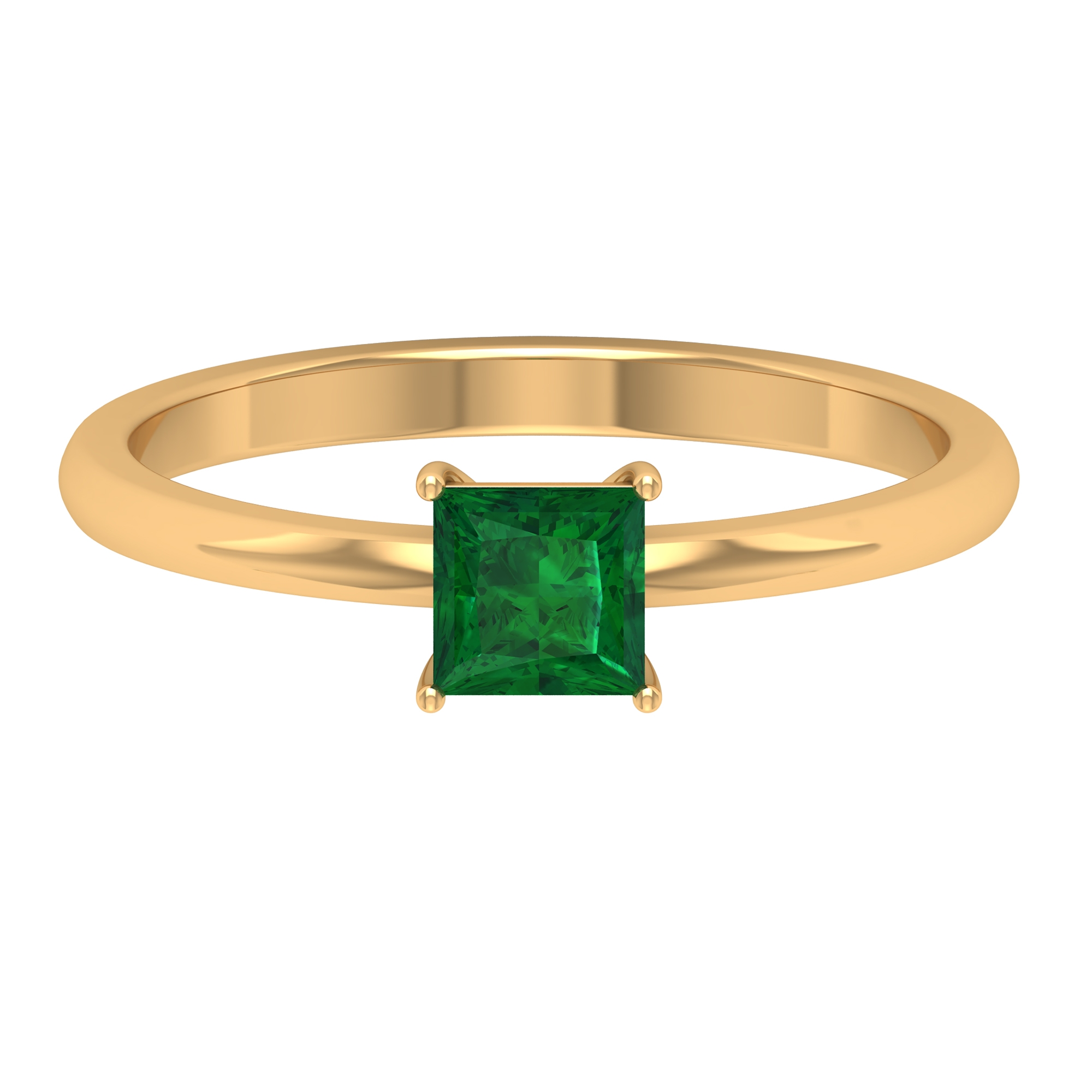 4.5 MM Princess Cut Emerald Solitaire Ring in 4 Prong Setting