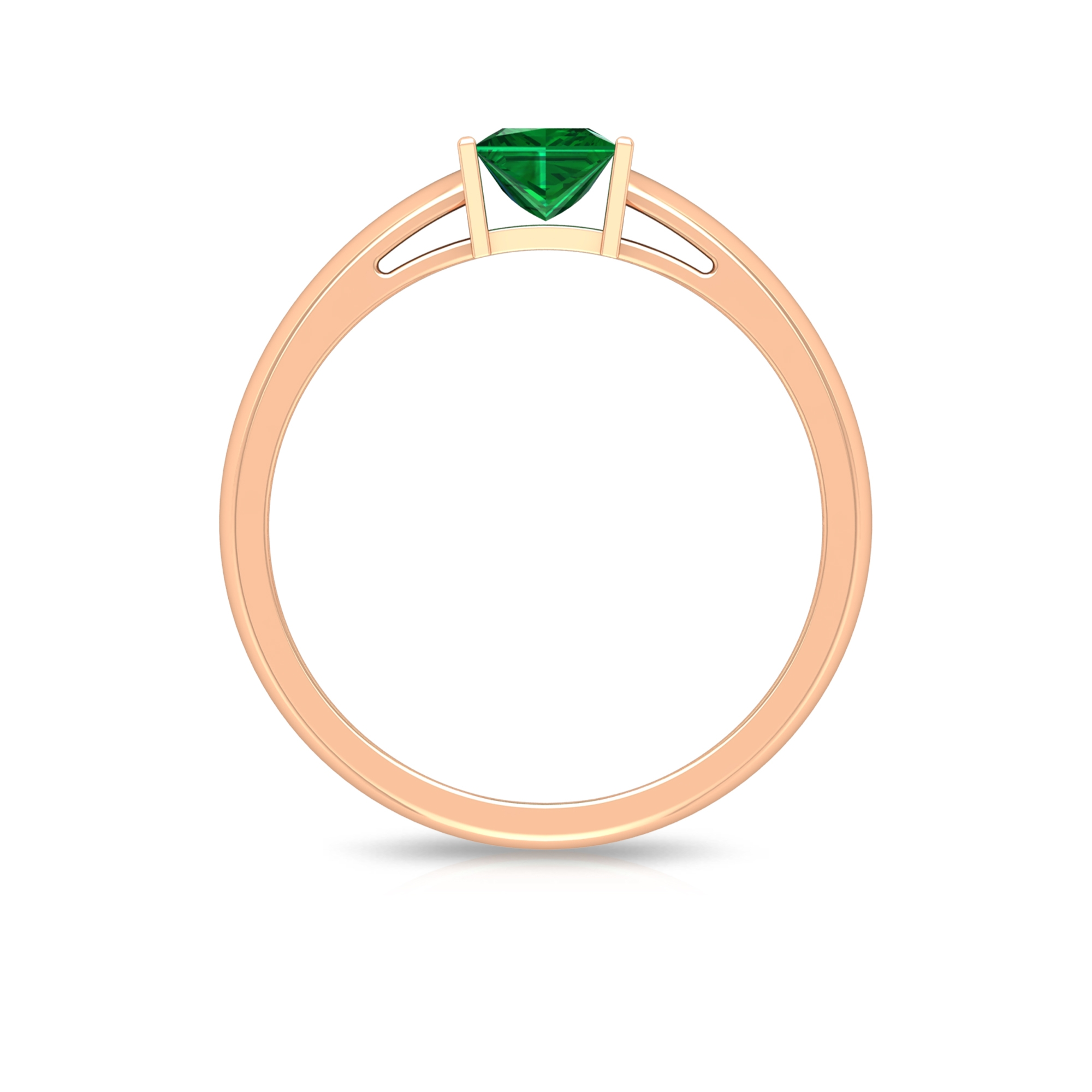 4.5 MM Princess Cut Emerald Solitaire Ring in Bar Setting