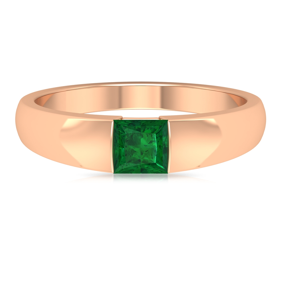 4.5 MM Princess Cut Emerald Solitaire Unisex Band Ring in Tension Mount Setting