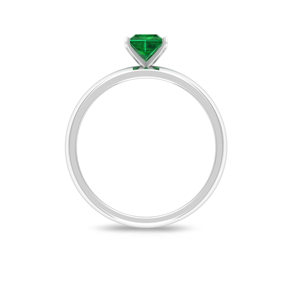 4.5 MM Princess Cut Emerald Solitaire Ring in Peg Head Setting