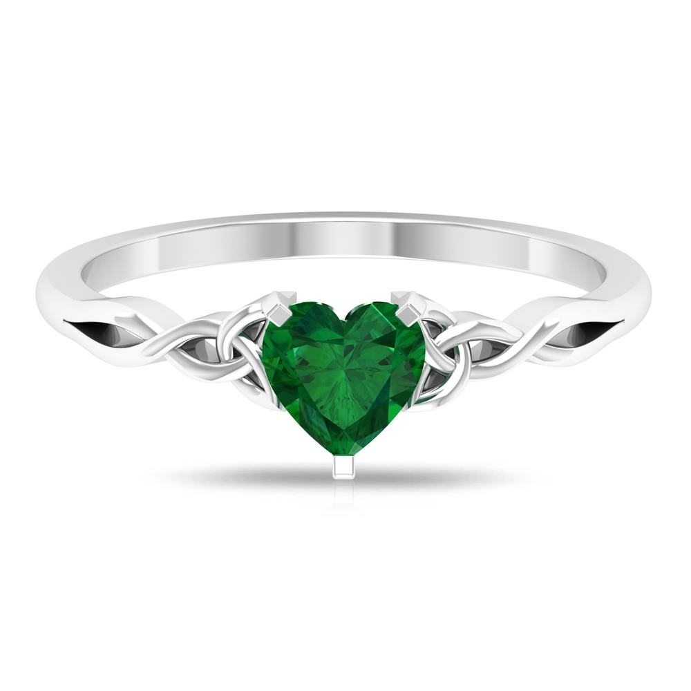 May Birthstone 5.40 MM Heart Shape Solitaire Emerald Celtic Ring in 3 Prong Peg Head Setting