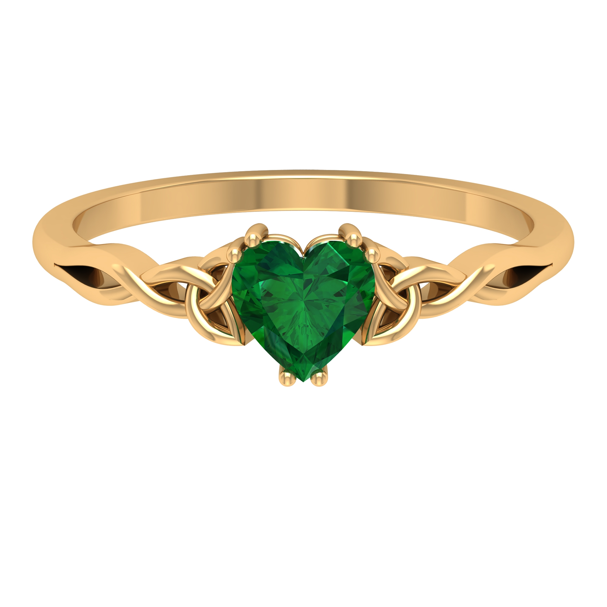 5.40 MM Heart Shape Solitaire Emerald Celtic Ring in Double Prong Setting