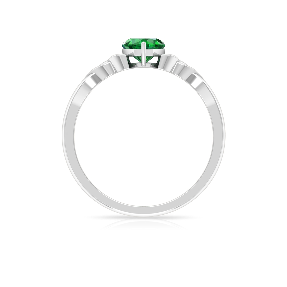 5.40 MM Heart Shape Solitaire Emerald Celtic Ring in 3 Prong Basket Setting