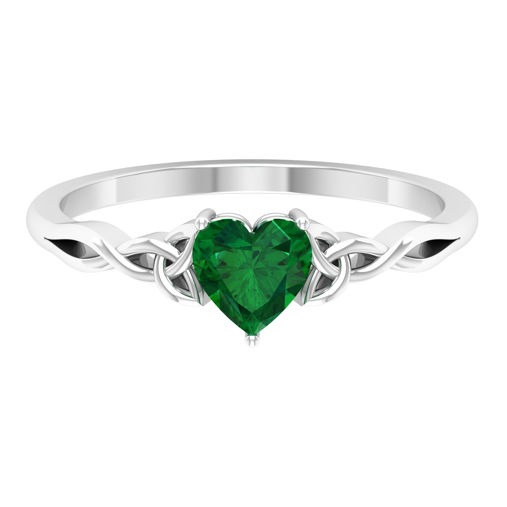May Birthstone 5.40 MM Three Prong Set Heart Shape Solitaire Emerald Celtic Ring