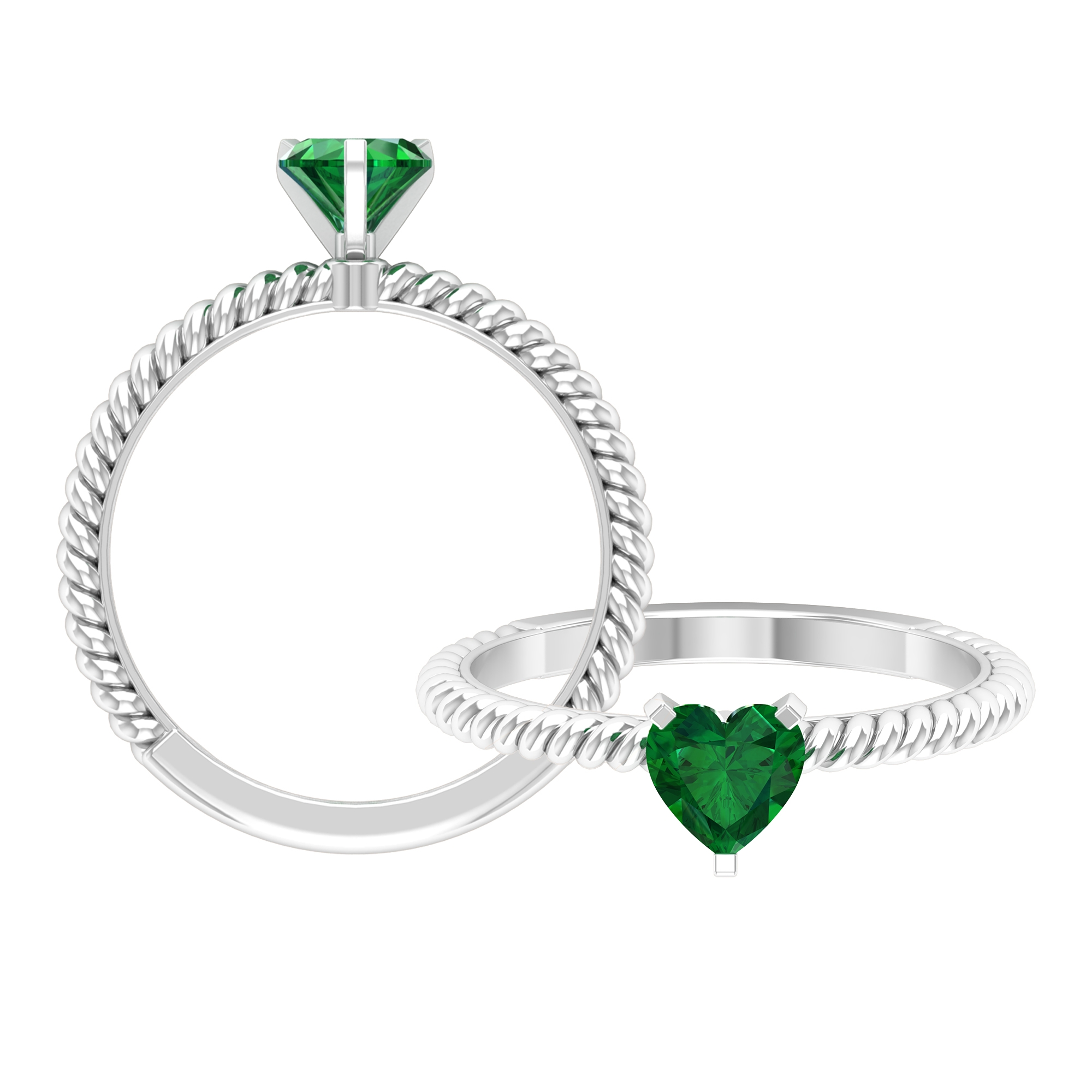 5.40 MM Three Prong Peg Head Set Heart Shape Emerald Solitaire Ring with Twisted Rope