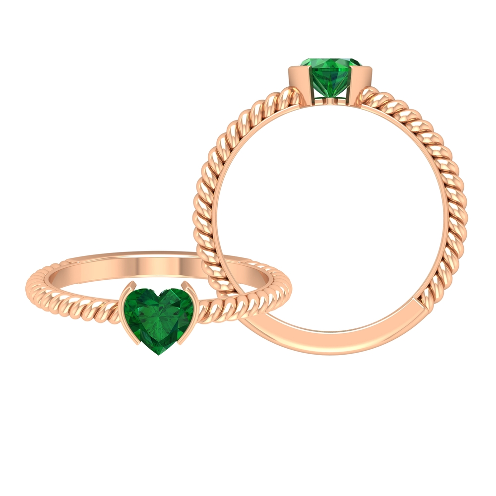 May Birthstone 5.40 MM Half Bezel Set Emerald Solitaire Ring with Twisted Rope