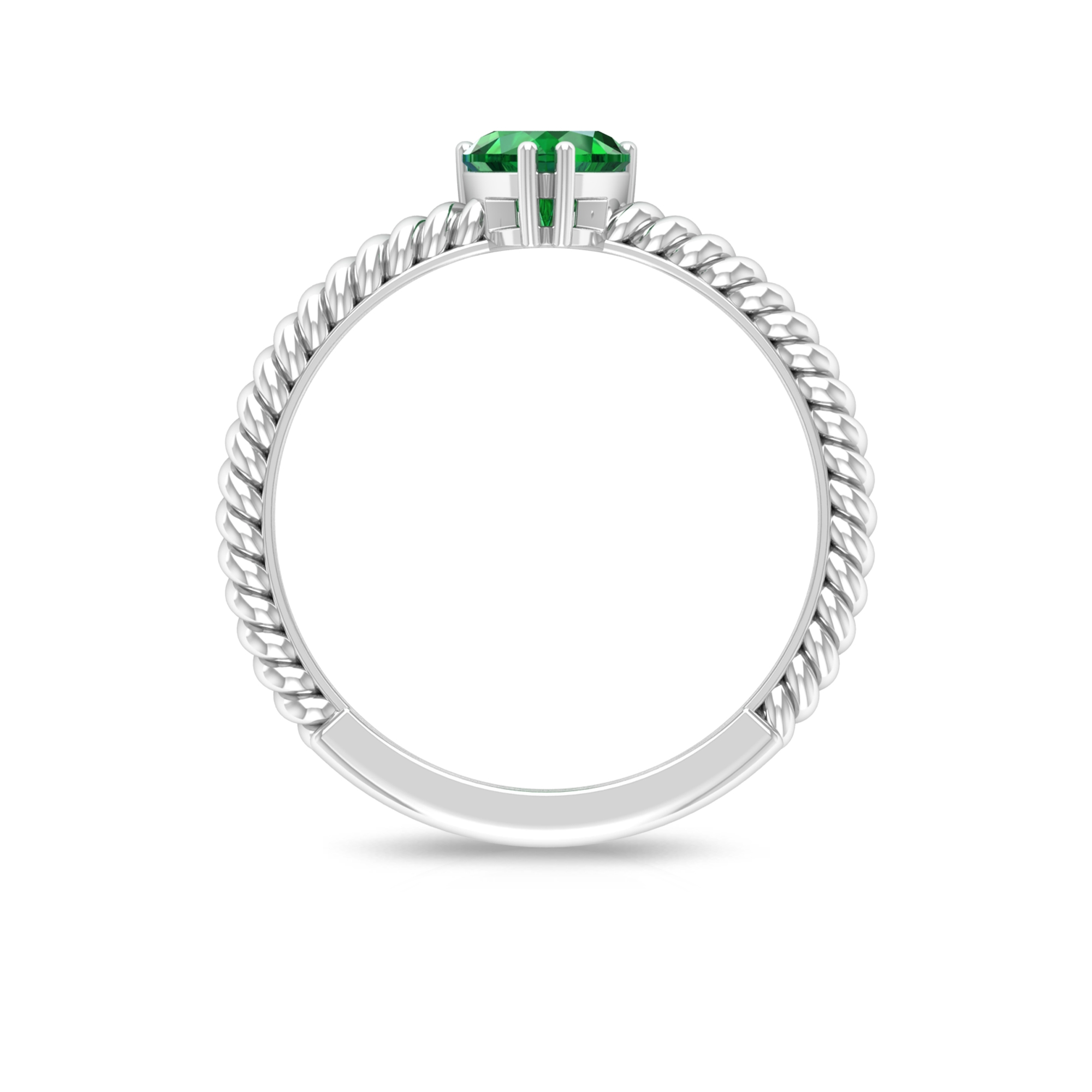 5.40 MM Double Prong Set Heart Shape Emerald Solitaire Ring with Twisted Rope