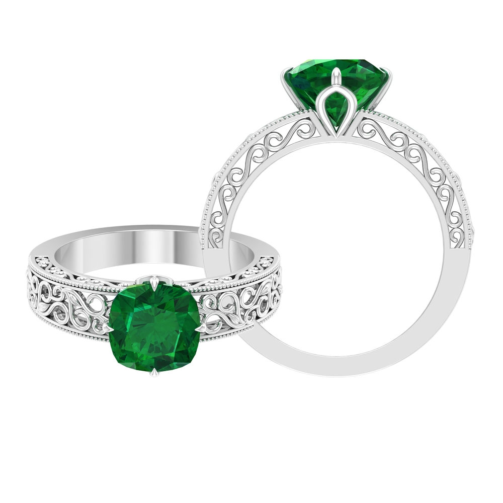 8 MM Four Claw Prong Diagonal Set Cushion Cut Solitaire Emerald Filigree Ring