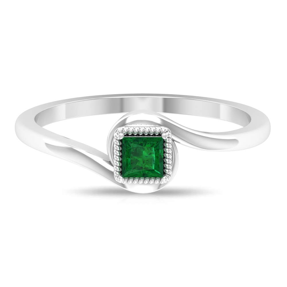 3.5X3.5 MM Princess Cut Emerald Solitaire Ring in Prong Setting with Rope Frame