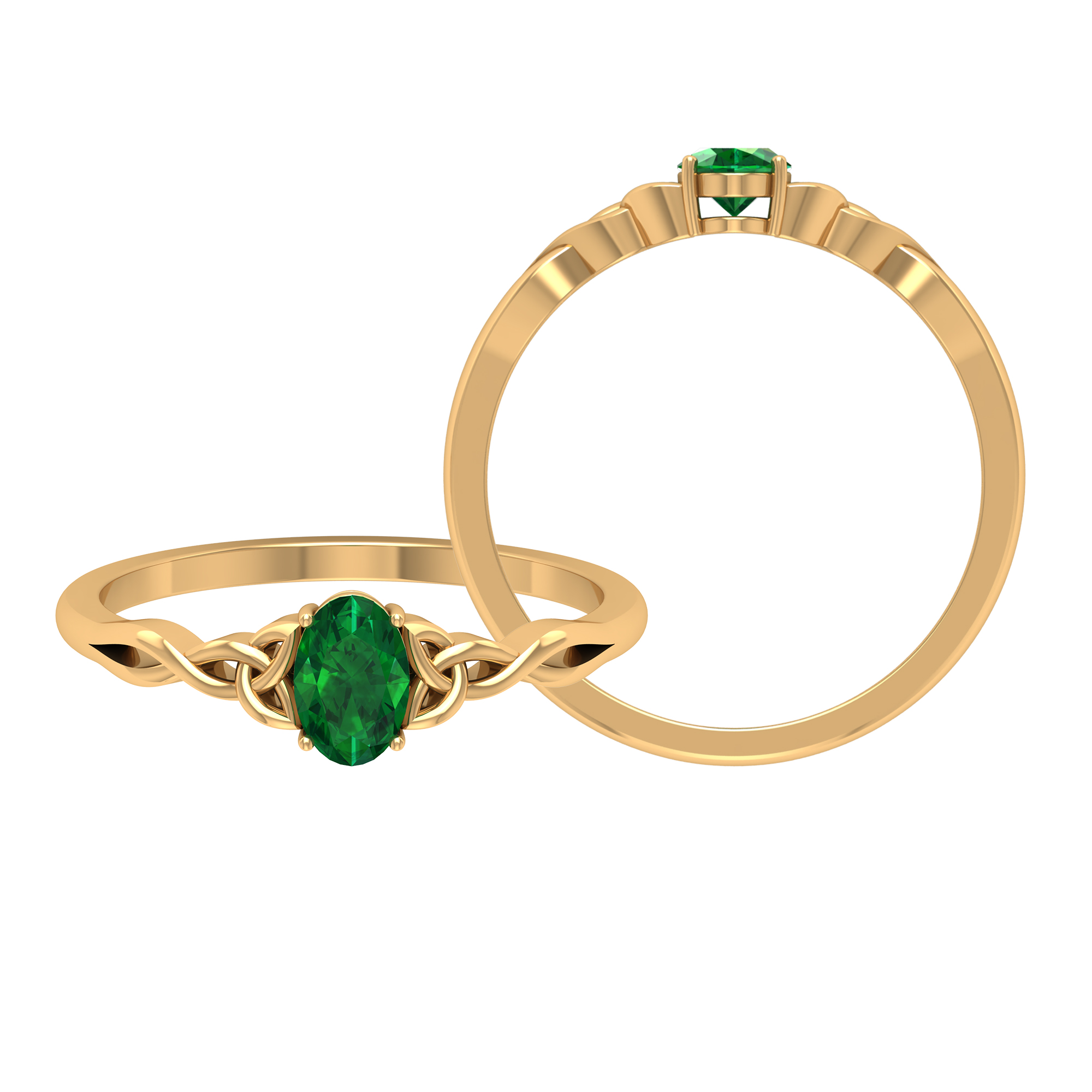 4X6 MM Oval Shape Emerald Solitaire Ring in 4 Prong Setting with Celtic Band