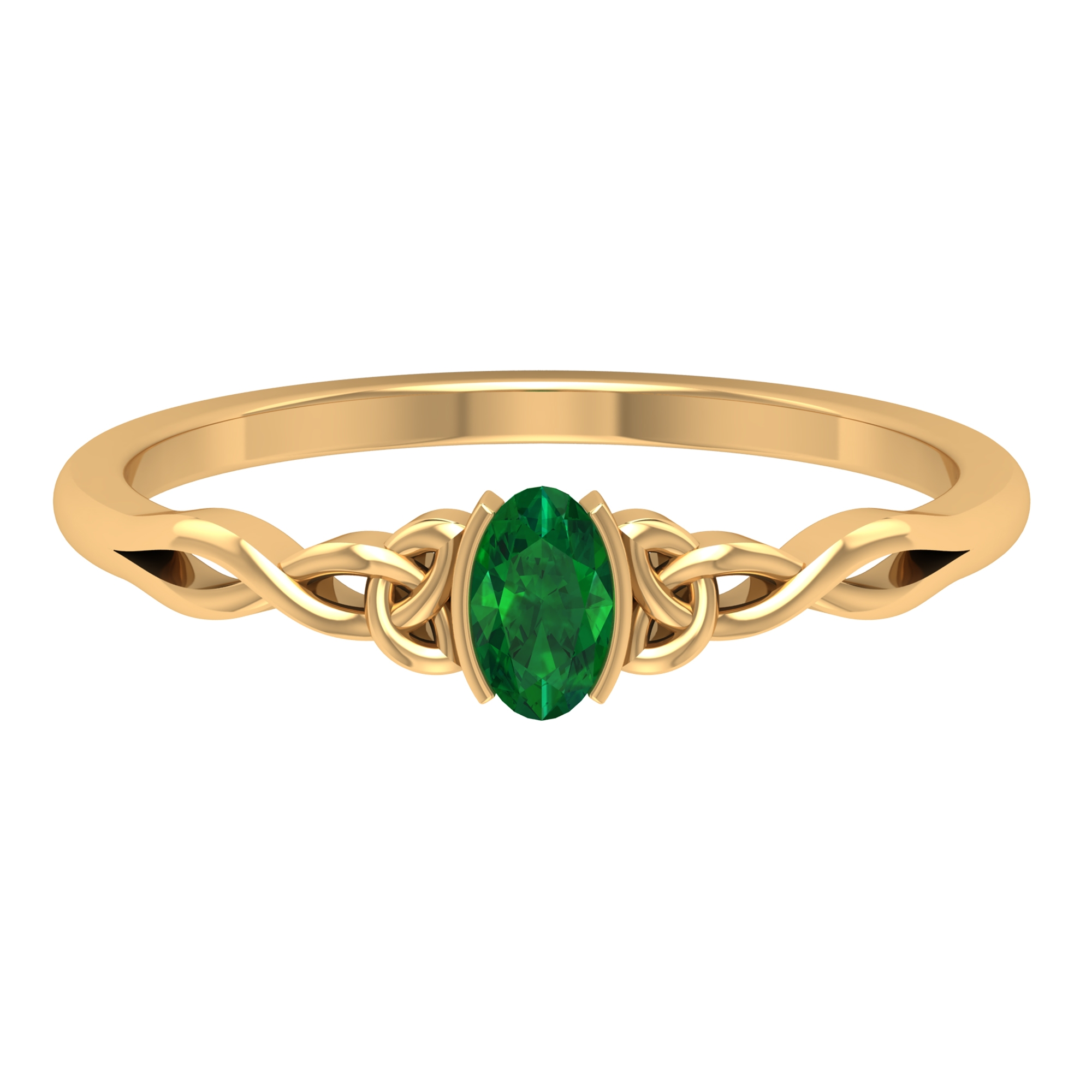 3X5 MM Oval Cut Solitaire Emerald Celtic Ring in Half Bezel Setting
