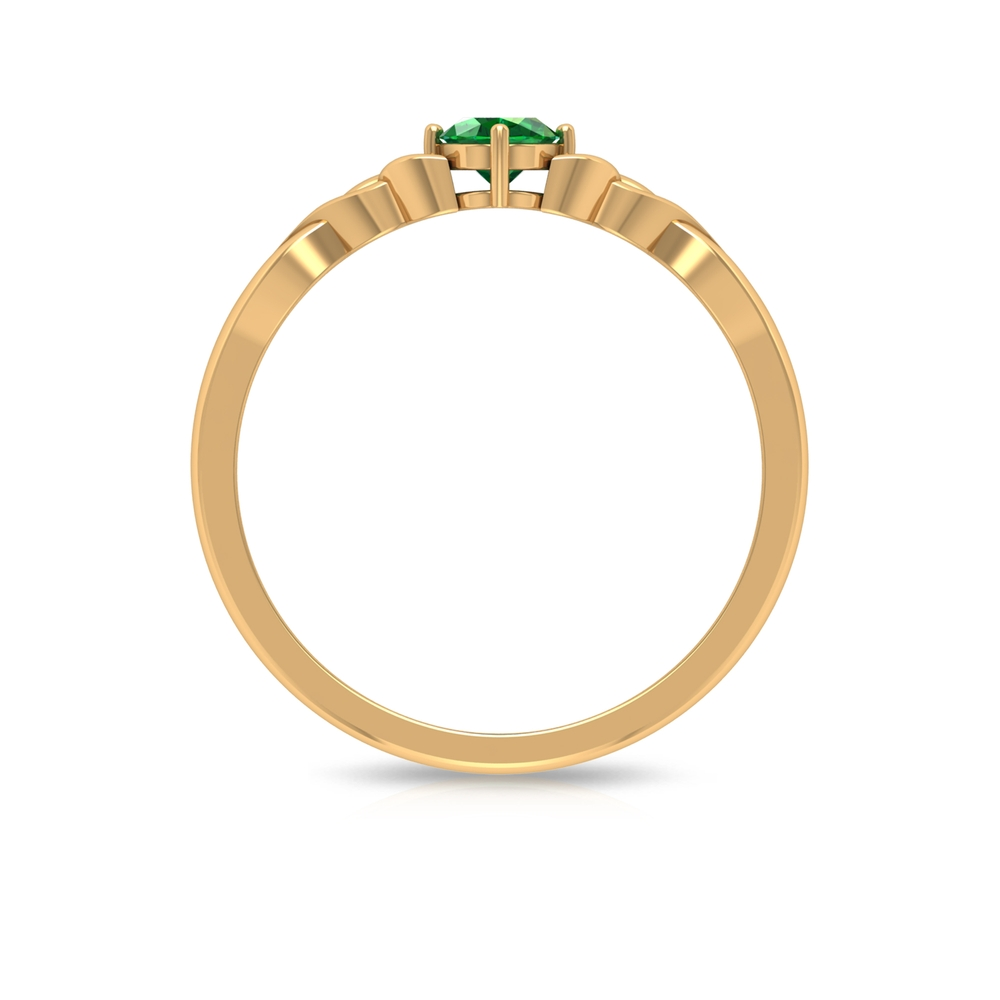 4X6 MM Oval Cut Solitaire Emerald Celtic Ring in 4 Prong Diagonal Setting