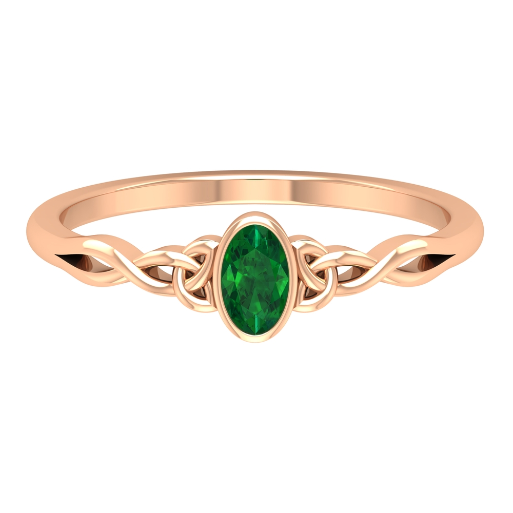 May Birthstone 3X5 MM Oval Cut Solitaire Emerald Celtic Ring in Bezel Setting