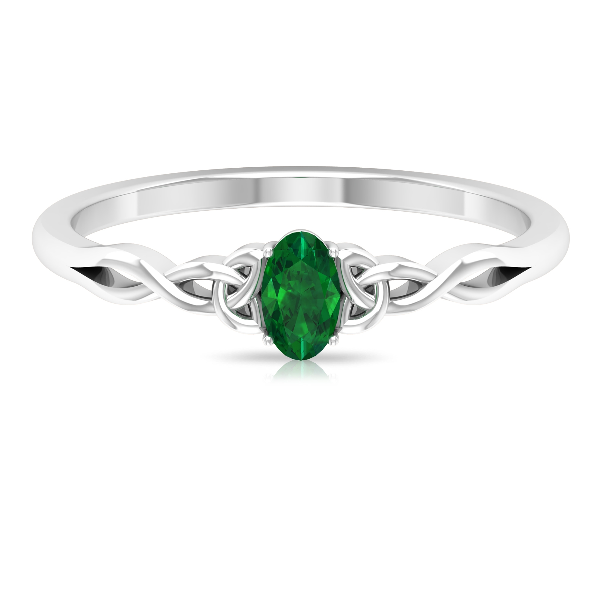 May Birthstone 3X5 MM Oval Cut Solitaire Emerald Celtic Ring in 4 Prong Setting