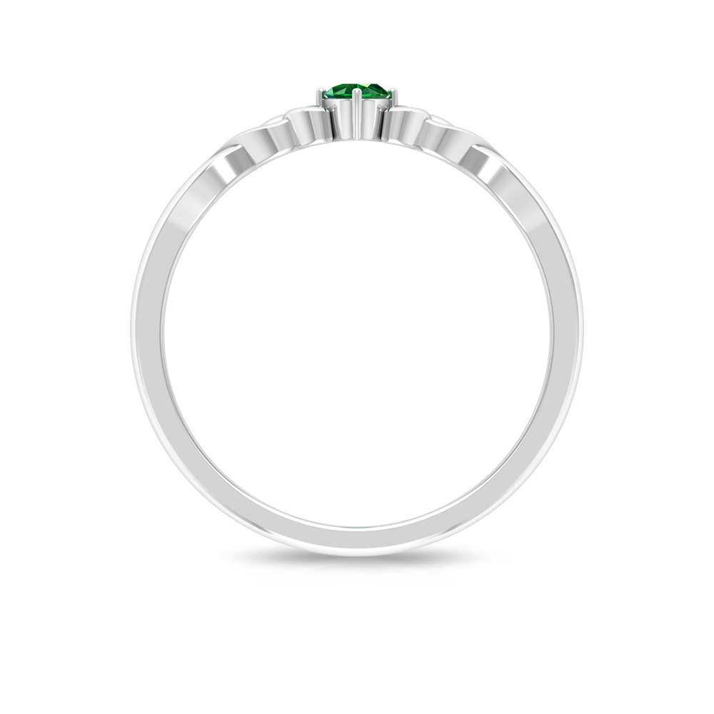 May Birthstone Four Prong Diagonal Set Solitaire Emerald Celtic Ring