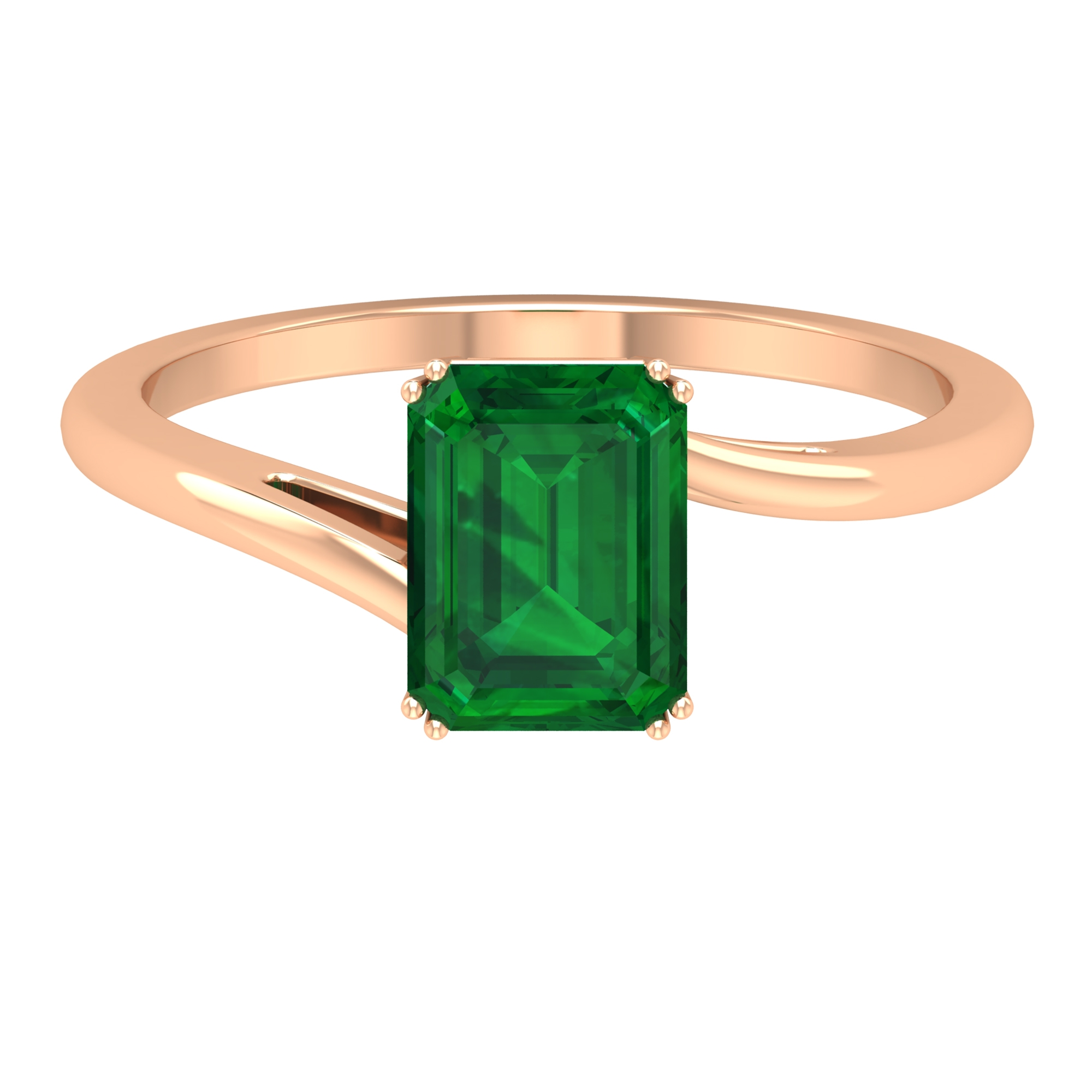 6X8 MM Double Prong Set Octagon Cut Solitaire Emerald Bypass Ring