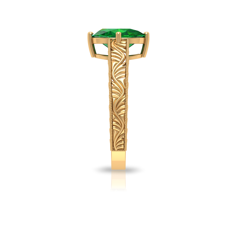 7X9 MM Oval Cut Emerald Solitaire Ring in Basket Setting with Gold Engraved