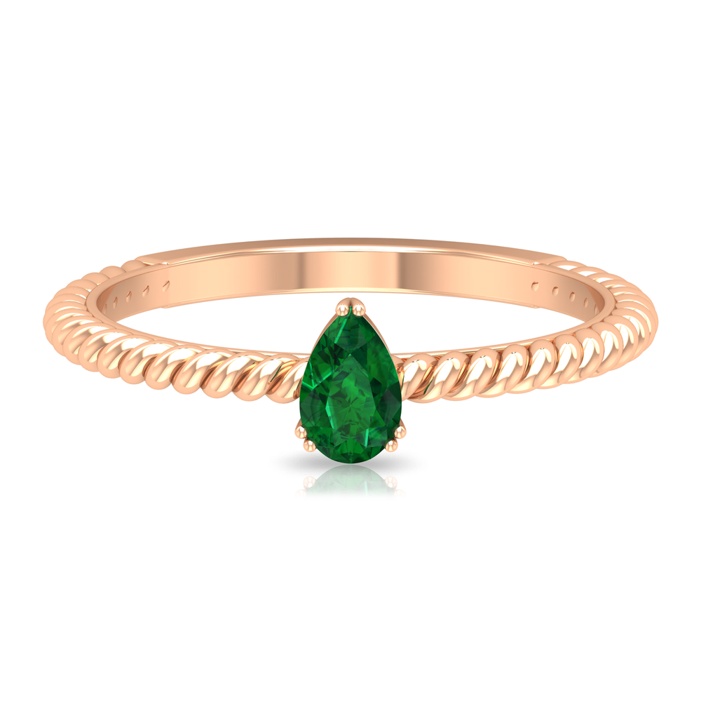 2.50 CT V Scroll Set Pear Cut Solitaire Emerald Ring with Twisted Rope