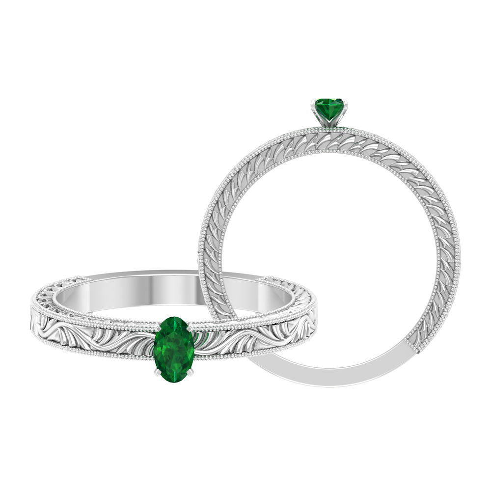 May Birthstone 0.25 CT Peg Head Set Oval Cut Solitaire Emerald Engraved Ring