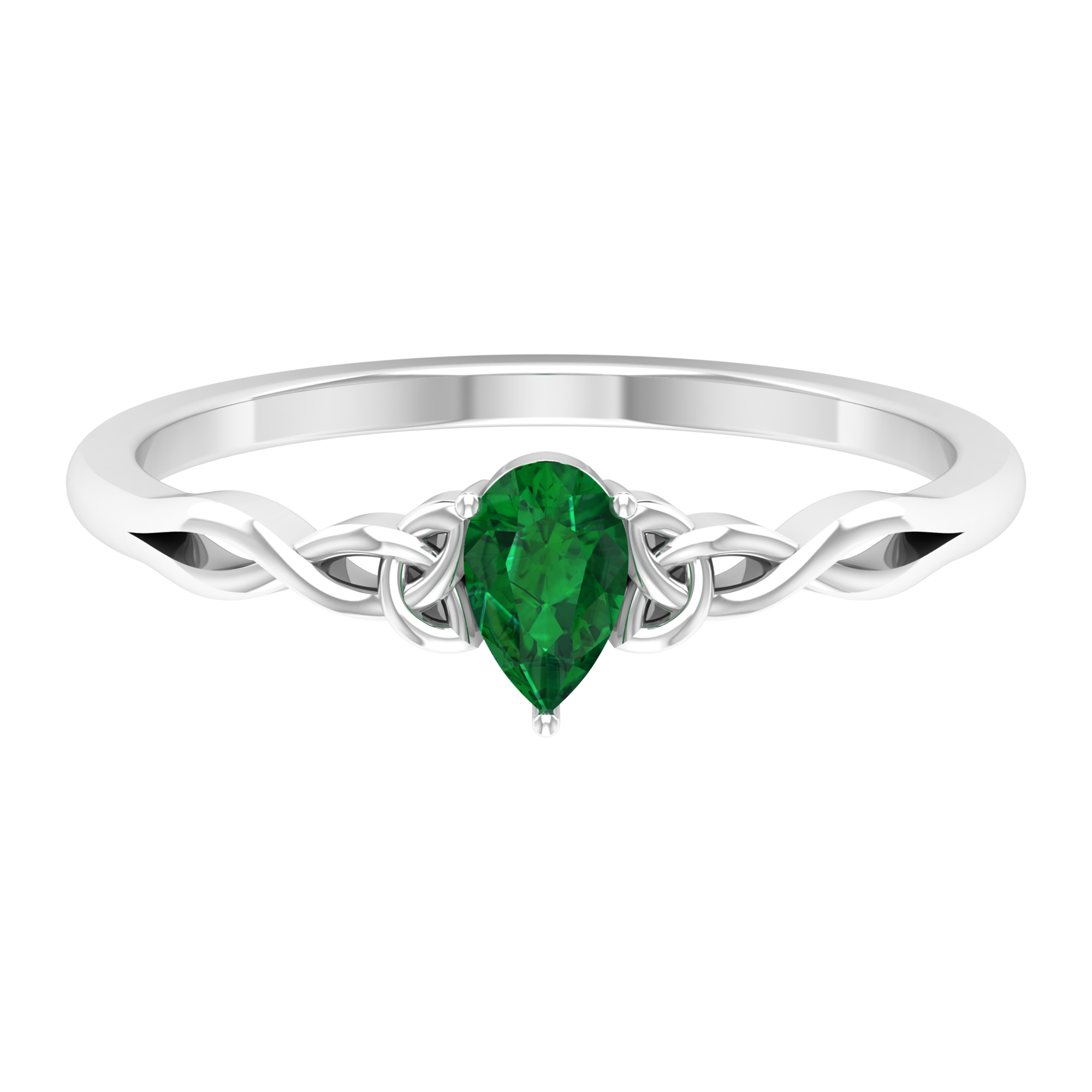 2.50 CT Three Prong Set Pear Cut Solitaire Emerald Celtic Ring