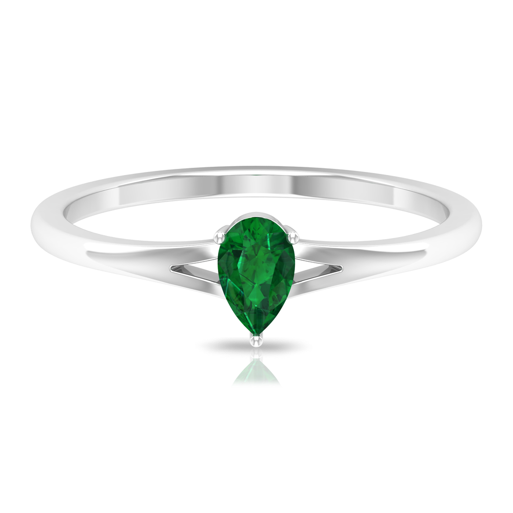 2.50 CT Three Prong Set Pear Cut Solitaire Emerald Split Shank Ring