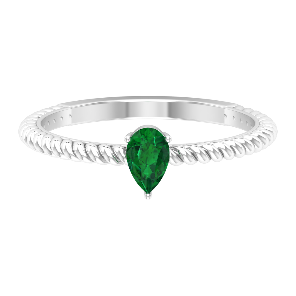 2.50 CT Three Prong Set Pear Cut Solitaire Emerald Ring with Twisted Rope