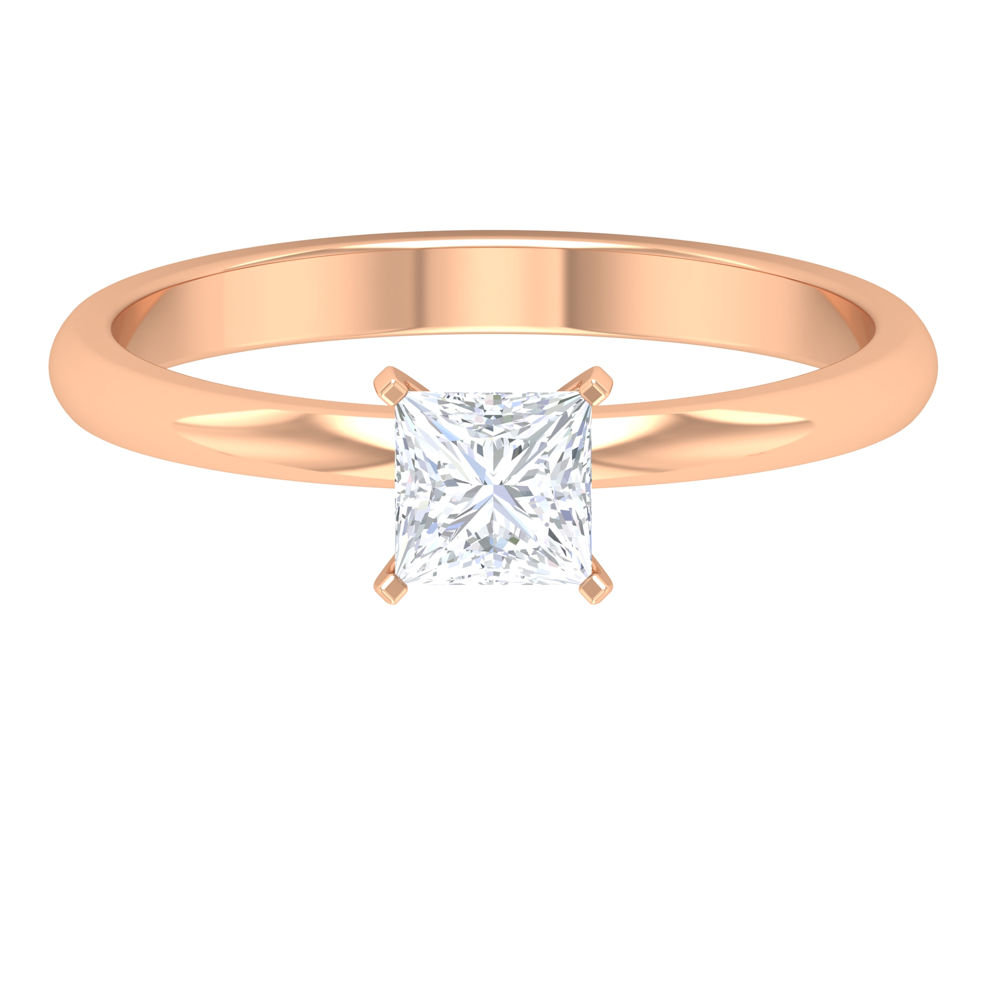 4.5X4.5 MM Princess Cut Diamond Solitaire Engagement Ring For Women in Prong Setting