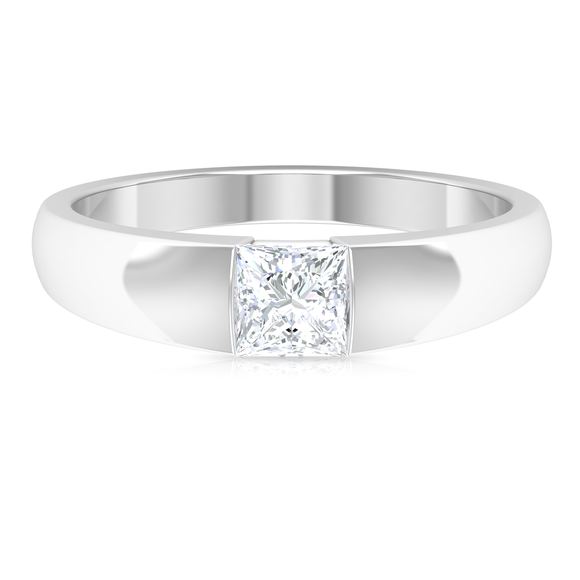 4.5X4.5 MM Princess Cut Diamond Solitaire Unisex Band Ring in Tension Mount Setting